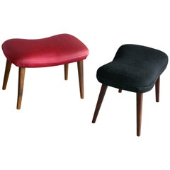 Pair of Danish Midcentury Footstools or Ottoman Model by Madsen & Schubell