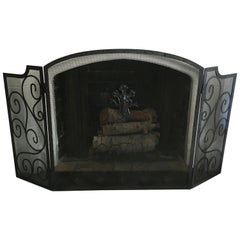 Black Three-Panel Wrought Iron Folding Fireplace Screen with Scroll Detail
