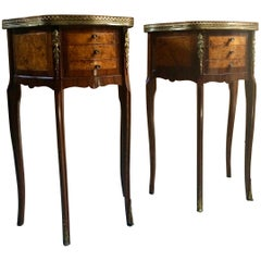 Magnificent French Bedside Tables Nightstands Rosewood and Walnut Louis XV, Pair