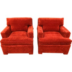 Pair of Plush Edward Wormley for Dunbar Lounge Chairs in Orange Rust