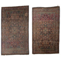 Pair of Antique Persian Kashan Rugs from Iran, circa 1880