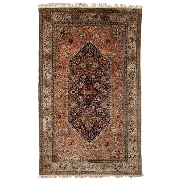 Hand-Knotted Persian Silk Qum Rug from Iran