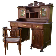 Art Nouveau Carved Walnut Desk and Armchair, circa 1900