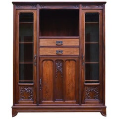 French Art Nouveau Mahogany Bookcase Library by Gauthier-Poinsignon, circa 1910