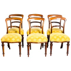 19th Century Set of Six Victorian Walnut Dining Chairs