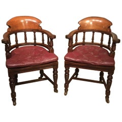 Pair of High Quality Mahogany Late Victorian Period Desk Armchairs
