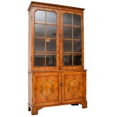 Antique Figured Walnut Two-Section Bookcase
