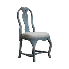 18th Century Pained Swedish Rococo Chair in the Original Paint