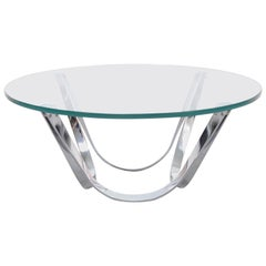 Round Glass Coffee Table by Roger Sprunger for Dunbar,1970s