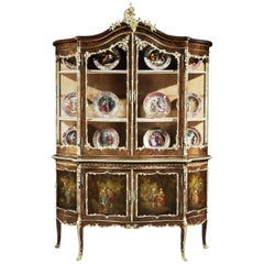 French 19th Century Vitrine Display Cabinet in the Louis XV Vernis Martin Manner