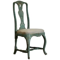 18th Century Swedish Rococo Chair in Original Paint