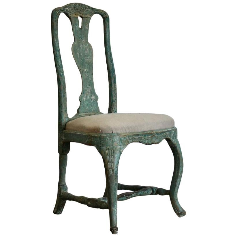 18th Century Swedish Rococo Chair In Original Paint For Sale