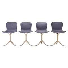 Set of 4 Grey Leather and Golden Sand Cast Brass Chairs by P. Tendercool