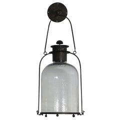 Large Iron and Glass Hanging Lanterns