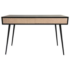 New Pink Relief Metal and Black Lacquered Wood Desk Table with Two Drawers
