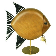 Austrian Modernist Walnut and Brass Fish Shaped Money Box by Carl Auböck