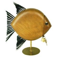 Austrian Modernist Walnut and Brass Fish Shaped Money Box by Carl Auböck