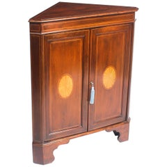 Early 20th Century Mahogany and Satinwood Inlaid Low Corner Cabinet