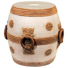 Zaccagnini Italian Pottery Garden Seat Stool Ming Style Mask Ring Handles Raymor