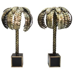 Pair of Spanish Palm Tree Brass Floor Lamps