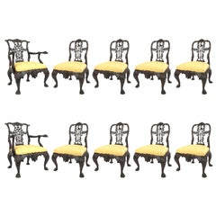 Set of Ten English Chippendale Style '19th Century' Mahogany Ribbon Back Chairs