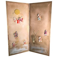 "Important Japanese ""Moon Rabbits"" Two-Panel Screen Taisho Period, 1915"