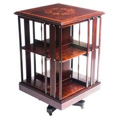 Antique Victorian Mahogany Inlaid Revolving Bookcase, 19th Century