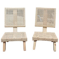 Pair of Spanish Chairs with Handwoven Rattan over a Wooden Frame