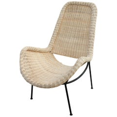 Handcrafted Natural Rattan Chair with Iron Legs and Back