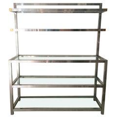 Step Back Polished Aluminium Display Shelf, 1970s