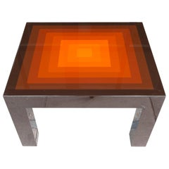 1970s Small Rectangular Multicolored Brown and Orange High Gloss Coffee Table