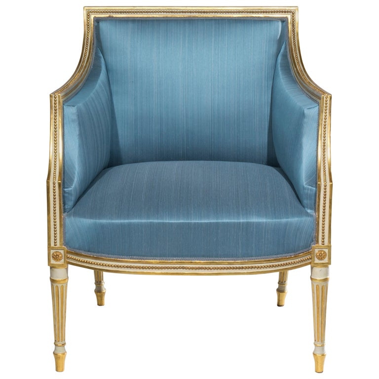 English 18th Century Neoclassical Cream Painted Armchair