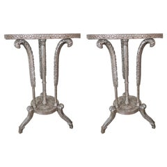"""Pair of """"Plume"""" Silver Gilt Tables"""