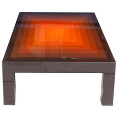 1970s Rectangular Multi-Colored Brown and Orange High Gloss Coffee Table