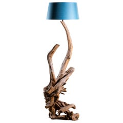 Organic Modern Natural Driftwood Floor Lamp Custom Shade
