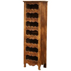 "Louis XV Carved 28 Wine Bottle Holder Cabinet with ""Vin de Bourgogne"""