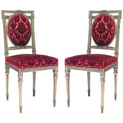Pair of French Louis XVI Style 'Late 19th Century' Gilt Side Chairs