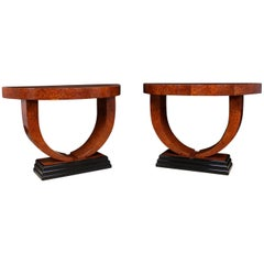 Pair of Art Deco Demilune Console Tables