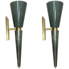 Pair of Green Conical Murano Wall Sconces, Brass Fittings