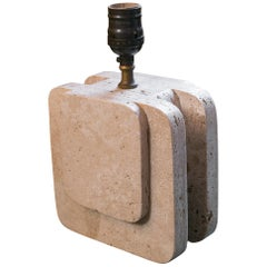 Small Midcentury Sculptural Travertine Table Lamp
