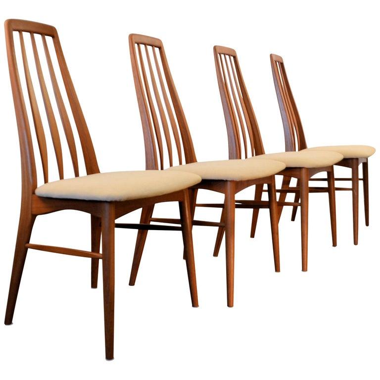 Niels Koefoed Model Eva Teak Dining Chairs, Set of Four
