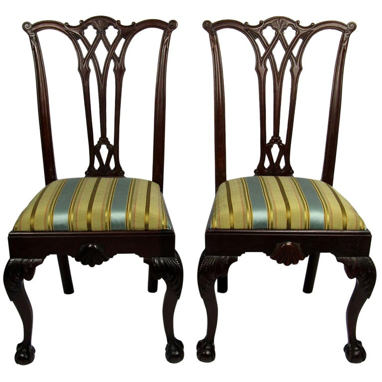 Pair of 19th Century Chippendale Side Chairs