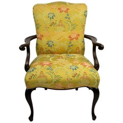 Single Mahogany Armchair with Oriental Style Upholstery