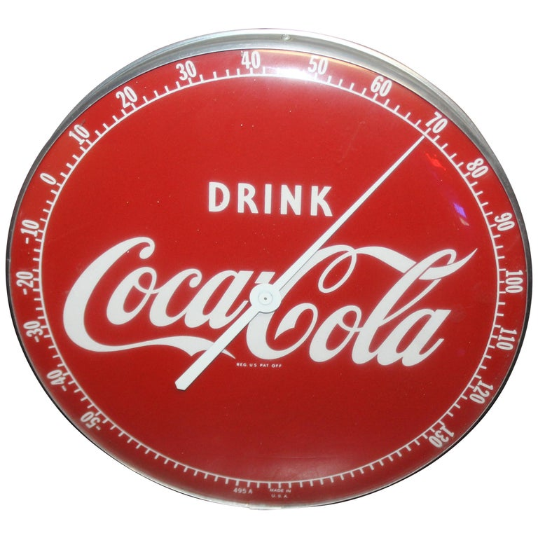 1940s Coca Cola Soda Advertising Thermometer Sign