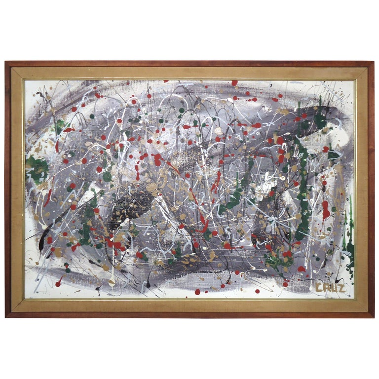 Abstract Splatter Painting Signed by Artist For Sale