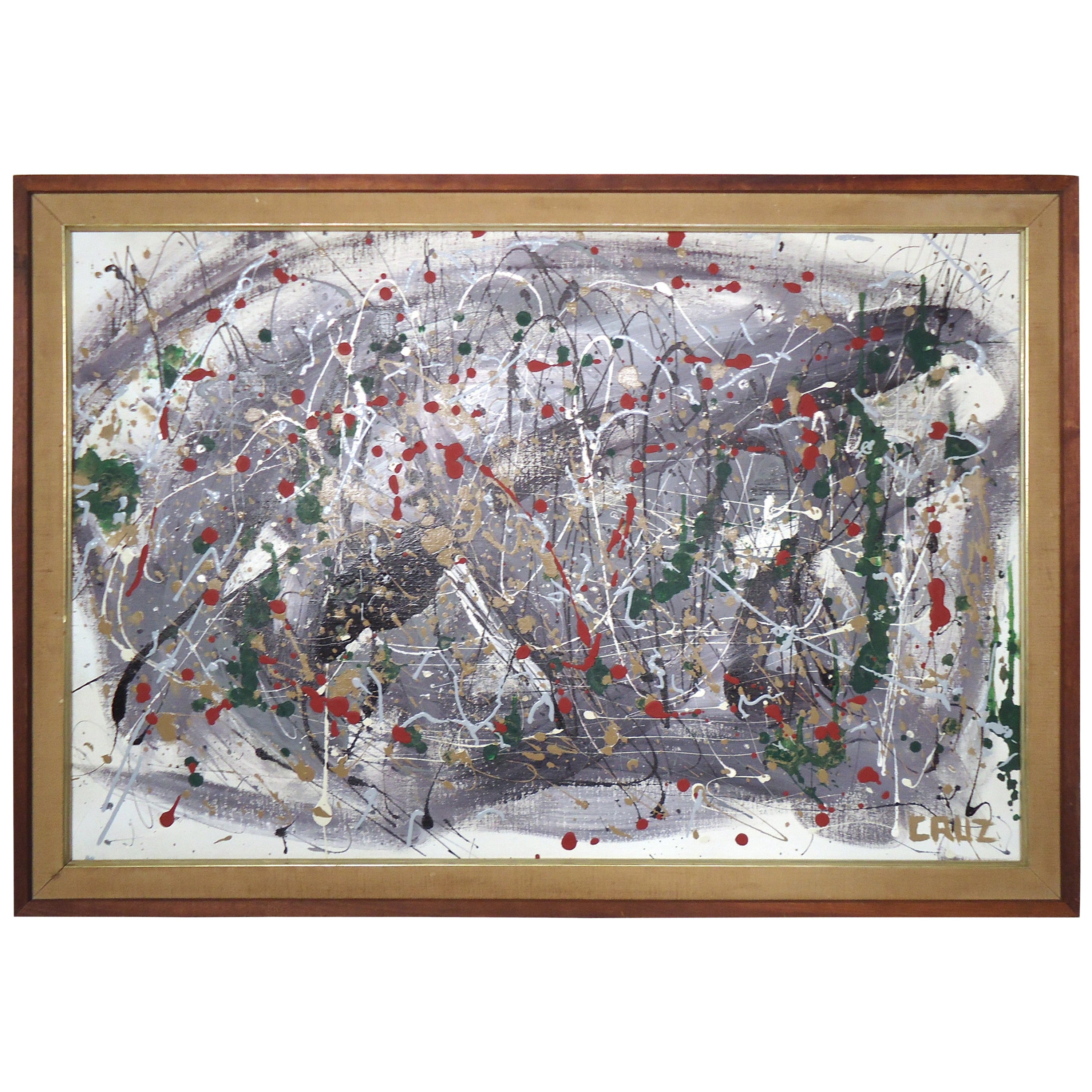 Abstract Splatter Painting Signed by Artist