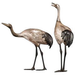 Taishō Period Silvered Bronze Storks