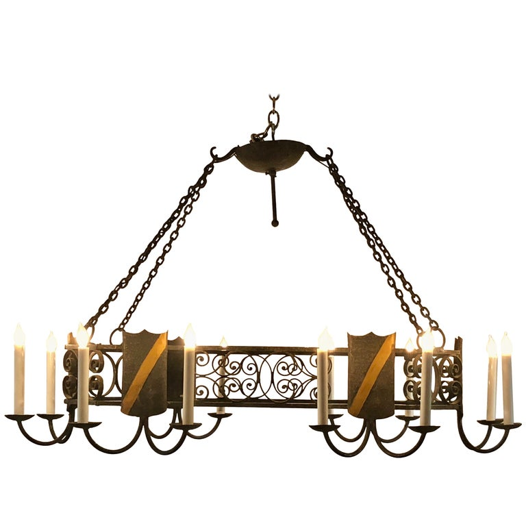 Antique French Wrought Iron Chandelier