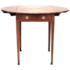 English Georgian Marquetry, Satinwood Pembroke Table