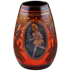 Zsolnay Pecs Raised Mark Art Pottery Eosin Glaze Vase with Native and Deer